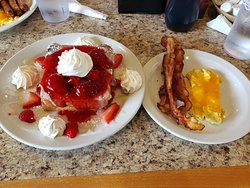 Stuffed french toast with bacon a& cheese eggs