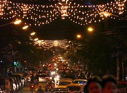 A Chiang Mai street illuminated for the Lantern Festival