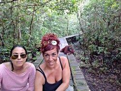 selfie con orangutanes. Toris Orangutan tour, tour por borneo en barca, orangutanes en libertad. Vacaciones en la selva de borneo