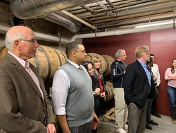 Our group in the barrel room