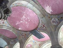 You will find these beautiful pink tiles and designs inside the Administration Pavilion