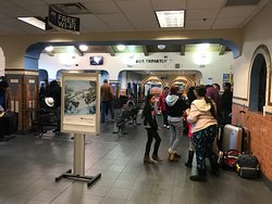 Albuquerque's Alvarado Travel Center - View of the Greyhound Bus Departure exit.  December 2018.