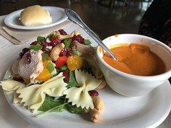 Teriyaki Bowtie salad and Tomato Basil soup.
