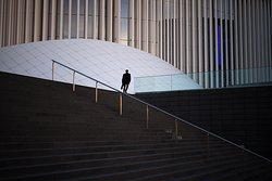 The stairs that go to Mudam. This is the meeting point of our Free Walking tour of Kirchberg