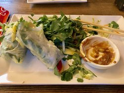 This is what my plate looked like after pulling cilantro out of 1/2 of my spring roll. A PILE of cilantro (this is not a salad - it's what was inside my spring roll!)