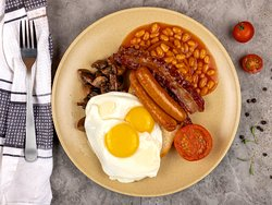 English Breakfast - 2 Eggs your way, Toasted sour dough, Chicken sausage,Bacon, Grilled tomato, Saute mushrooms, Baked beans
