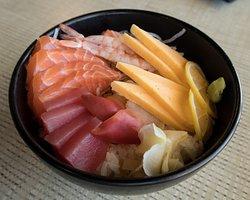 Sashimi Donburi, $13.99. 4 salmon, 2 tuna, 2 crab, 2 tamago, 2 surf clam