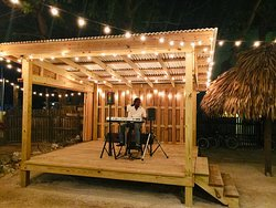 Man at Work at Casa Picasso entertaining us with Live Caribbean Music
