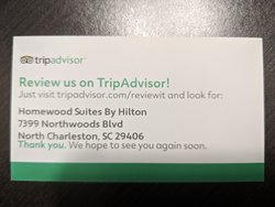 When I asked to talk to someone about my problems, I was handed this card and told to review them on TripAdvisor?!?