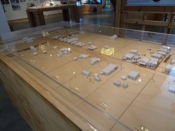A close up of part of the model of the township.