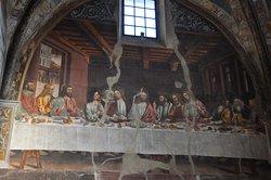 Interno affresco ultima cena ispirazione leonardesca della Cappella Marchionale