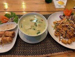 Spring rolls, green curry, and pad thai