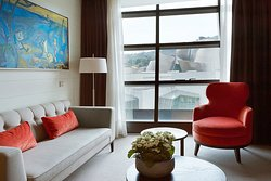 Deluxe Suite room Guggenheim views. Gran Hotel Domine in Bilbao. 5-star Luxury.