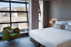 Deluxe Guggenheim View Room of Gran Hotel Domine in Bilbao, Basque Country, Spain. 5-star Luxury