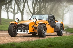 The orange Caterham seven makes for a great driving experience.