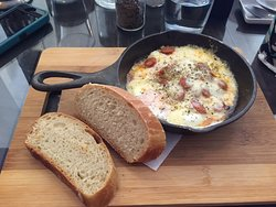 Breakfast skillet with homemade bread