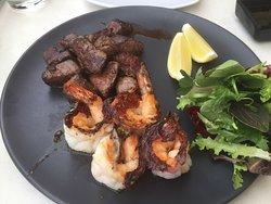 Teppanyaki Steak & Prawns Dish