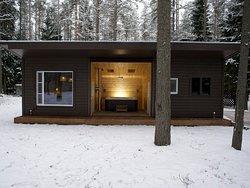 Банный комплекс на дровах со Спа-джакузи на открытом воздухе