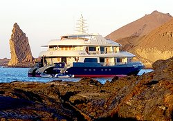 Our boat the Camila.  Only Trimaran in Galapagos.
