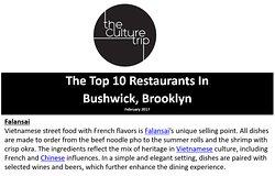 The Culture Trip named Falansai Vietnamese Kitchen among the top ten restaurants in Bushwick, Brooklyn, New York