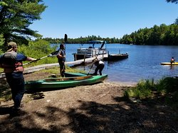 Boat launch with canoes and kayaks