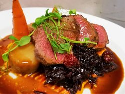 Venison, spiced red cabbage, blackberry jus