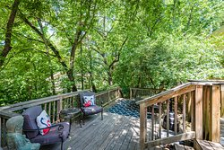 Our Lovely Private Back Deck in the Ozark Woods behind the Inn to relax with your favorite beverage and leave all your cares behind!