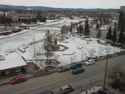 View from 619, Golden Hear Plaza and Chena River