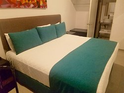 Double bed. Small room but cozy. Very clean!