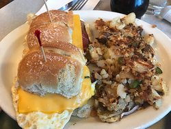 Breakfast Sliders with Applewood Bacon and Home Fries at Thomas's Ham & Eggery Diner