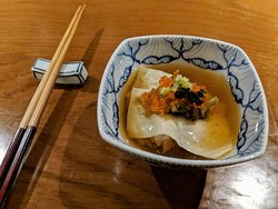 Rice donburi with slow-cooked abalone and yuba