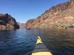 Paddling up the Colorado river to Emerald Cave.  Nevada on left and Arizona on right.