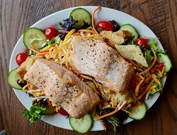 Salad with salmon. Delicious