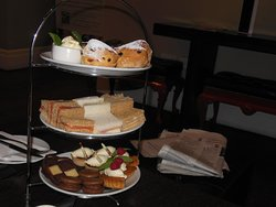 Delicious pastries and finger sandwiches.