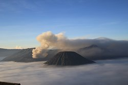 Mt.Bromo is one of volcano at Bromo Tengger Semeru National Park. Main attraction her is Sunrise from Mt.Pananjakan and sea of sand at Tengger tribe. Easy for trekking to summit.