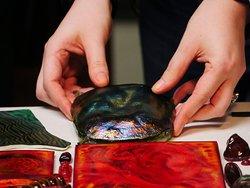 "One of Tiffany's iridescent ""turtle back"" tiles. Photo: Corey William Schneider"