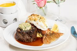 Filet Mignon accompanied by 8 ounce Lobster Tail