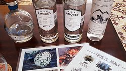 Various types of Mezcales from different algaves are presented