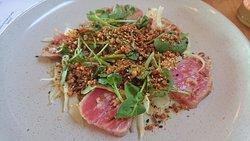Yellowfin tuna. lemon, buckwheat praline