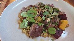 Kangaroo, freekah, seeds and beetroot