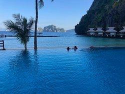Beautiful infinity pool overlooking the beach.