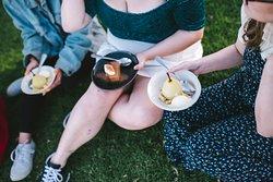 Dessert on the grass.