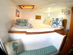 Queen ensuite stateroom in the port side bow