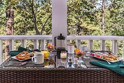 Breakfast on the porch when weather permits
