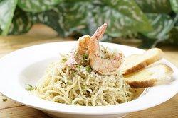 Shrimp Aglio-oglio pasta - definitely one of our best sellers