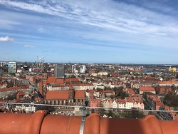 Old Town Gdansk and beyond view from top of tower