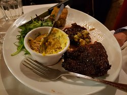 grilled steak with hard Bearnaise sauce