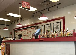 Service counter with sauces
