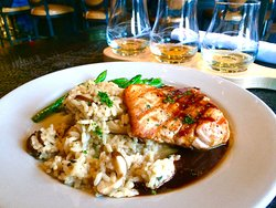 Grilled Salmon and Risotto w/ Green Beans with Islands Scotch Flight in the background.