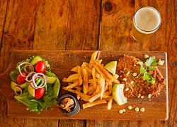 Chicken Schnitzel with homemade Chips and Green Salad  © Lesanne Dunlop